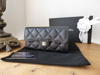 Chanel Classic Medium Flap Purse Wallet in Black Quilted Caviar with Gold Hardware - SOLD