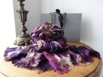 Mulberry Loopy Leopard Large Scarf Wrap in Purple Plum Bamboo Soya Mix