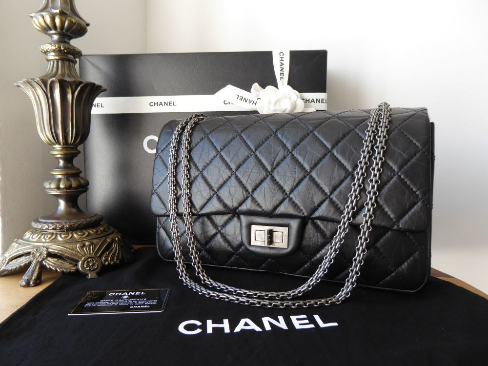 Chanel Reissue 227 Maxi Flap in Black Aged Calfskin with Ruthenium Hardware