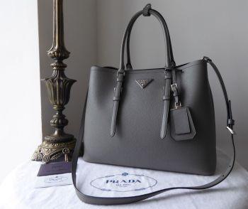Prada Medium Double Tote Shoulder Bag in Marmo Grey Saffiano Cuir - SOLD