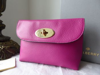 Mulberry Locked Cosmetic Pouch in Hot Fuchsia Spongy Pebbled Leather - SOLD