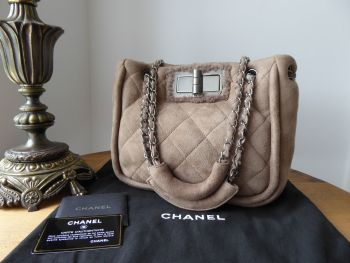 Chanel Ultra Soft Small Mademoiselle Lock Shoulder Bag in Taupe Quilted Shearling