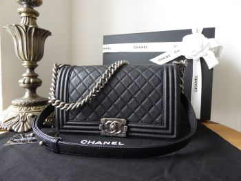 Chanel Boy Medium Flap in Black Quilted Caviar with Ruthenium Hardware - SOLD