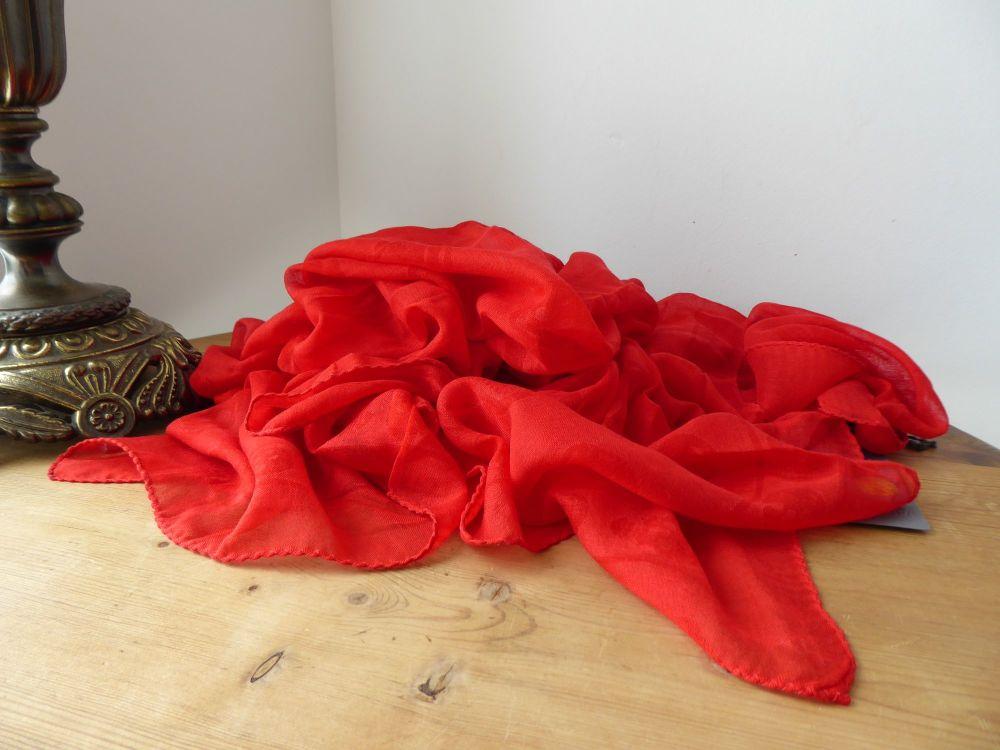 Alexander McQueen All Red Skull Scarf Wrap in Summer DevoreJacquard Silk M
