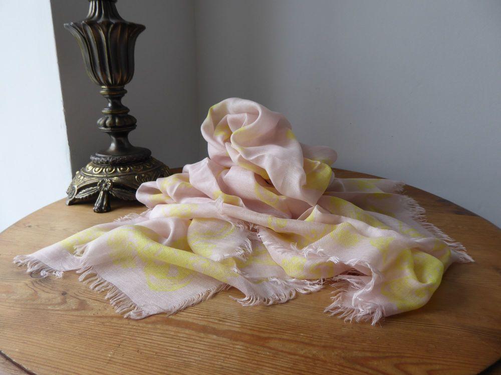 Alexander McQueen Paisley MultiSkull Scarf in Nude Pink & Lemon Silk Modal