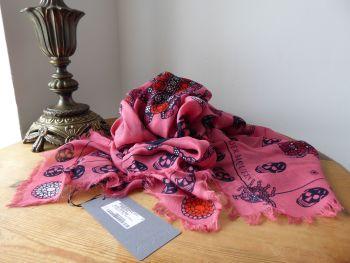 Alexander McQueen Jewelled Bug Multi Skull Scarf Wrap Stole in Dusky Rose Modal Wool Blend - New