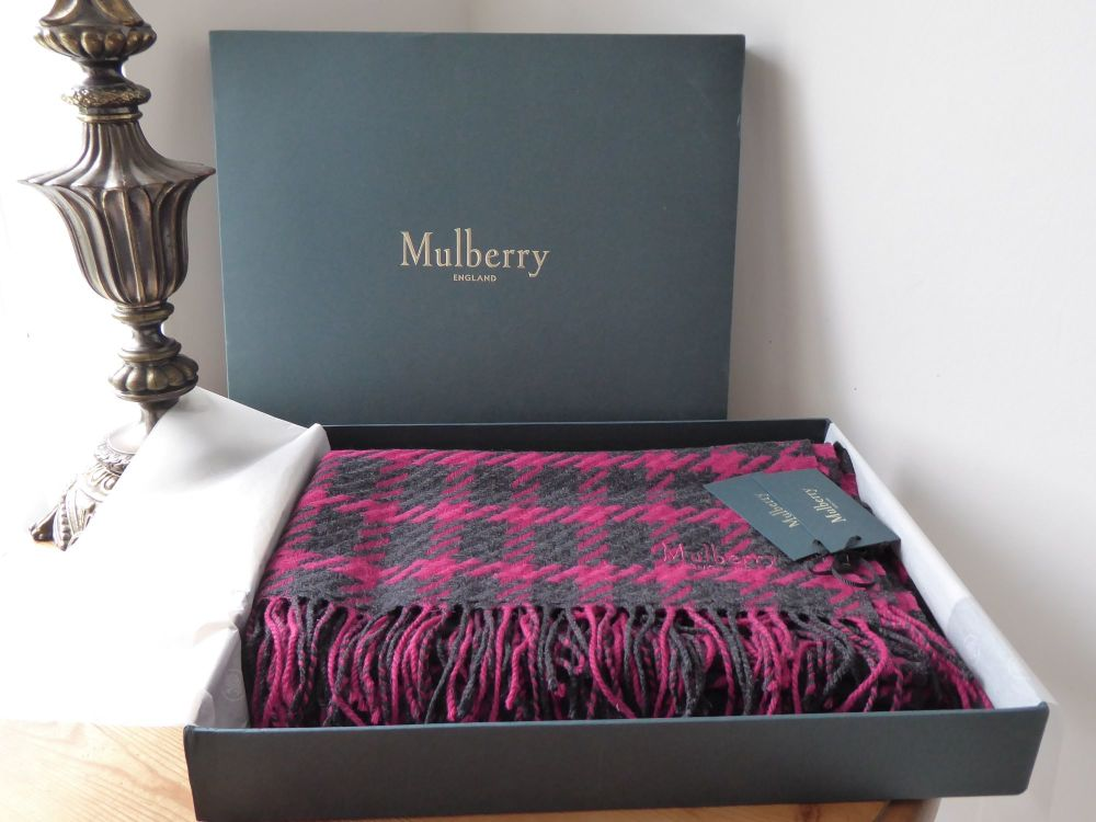 Mulberry Large Shawl Wrap Scarf in Berry Red & Charcoal Houndstooth Lambswo