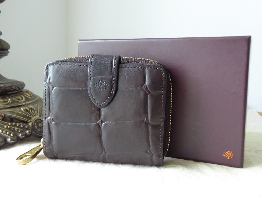 Mulberry Compact Bifold Zip Purse Wallet in Croc Printed Chocolate Leather