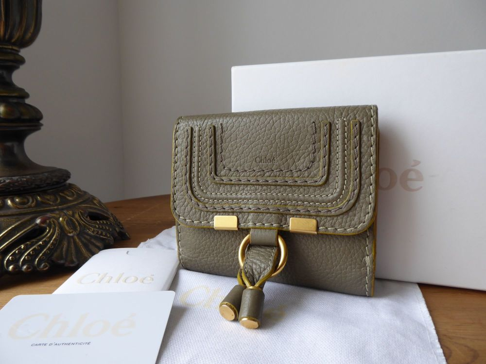 Chloé Marcie Compact Square Wallet Purse in Baobab Green Soft Pebbled Calfs