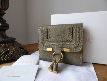 Chloé Marcie Compact Square Wallet Purse in Baobab Green Soft Pebbled Calfskin