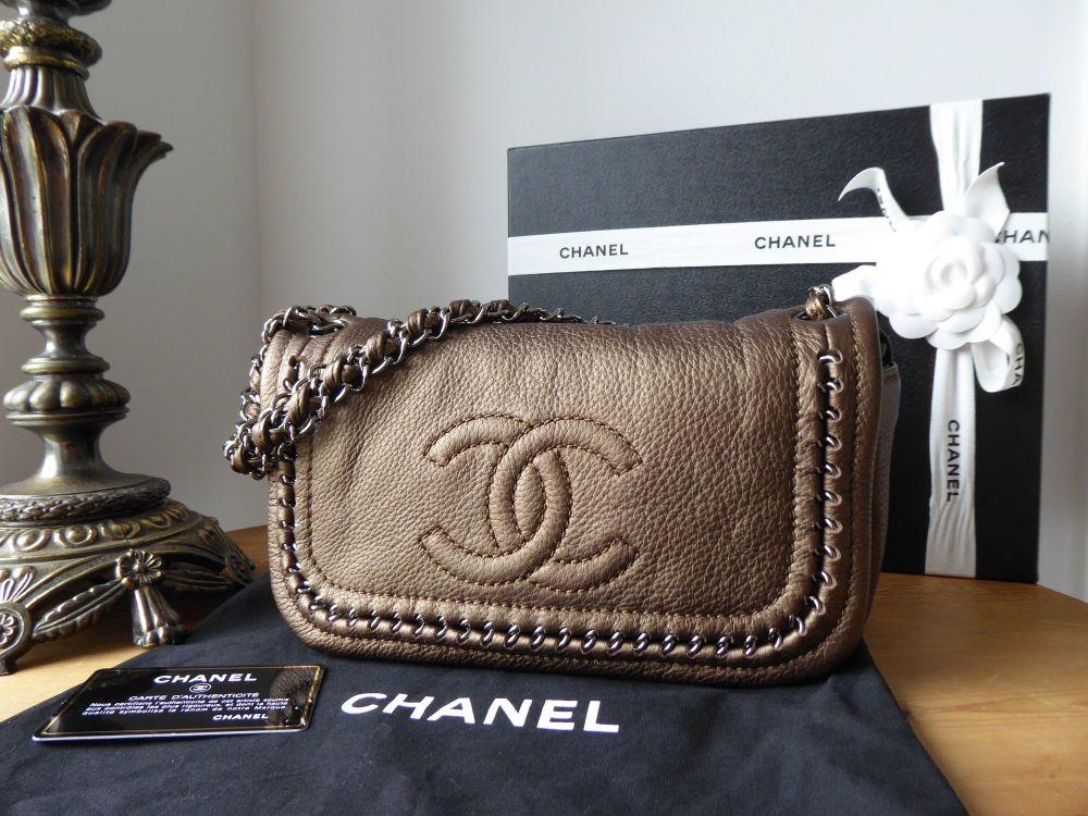 Chanel Luxe Ligne Flap Bag in Metallic Black Goatskin - SOLD