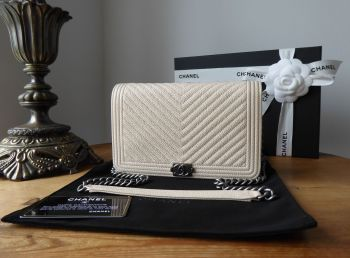 Chanel Boy Wallet on Chain WOC in Ivory Cream Chevron Quilted Caviar with Ruthenium Hardware