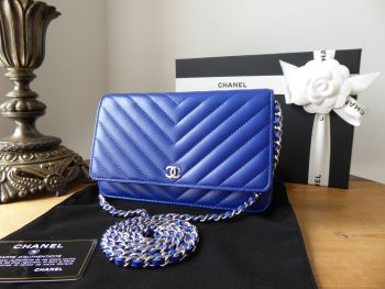 Chanel Wallet on Chain WOC in Electric Blue Chevron Quilted Calfskin with Shiny Silver Hardware