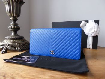 Chanel Long Yen Flap Wallet in Bright Blue Chevron Quilted Caviar- SOLD
