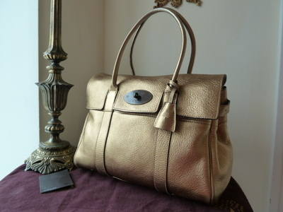 Mulberry Bayswater in Metallic Gold Glove Leather