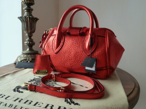 Burberry Prorsum Blaze  in Metallic Cadmium Red Leather - NEW*