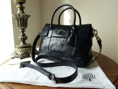 Mulberry Holiday Small Bayswater Satchel in Nightshade Blue Spongy Patent -