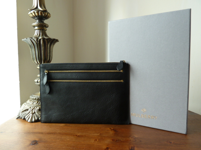 Mulberry Multi Zip Pouch in Black Natural Leather - New