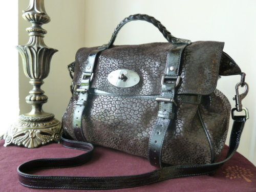 Mulberry Oversized Alexa in Black Patent Mini-Leopard - SOLD
