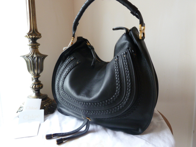 Chloe Marcie Turnlock Shoulder Bag in Black Sheeps Leather - SOLD
