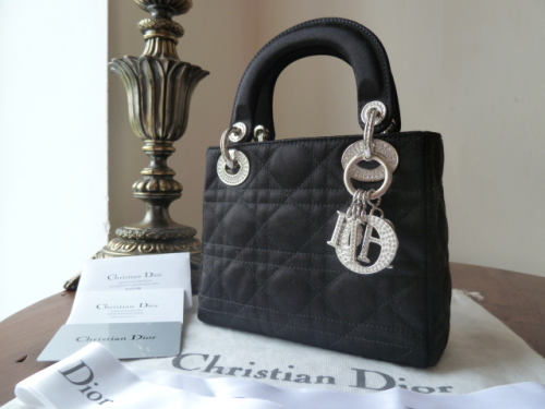 6d844fec68b5 Dior Lady Dior Mini in Black Satin Encrusted with Swarovski Crystals ...