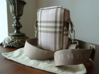 Burberry Mini-Camera Messenger Bag in Ice Pink Nova Check - As New*