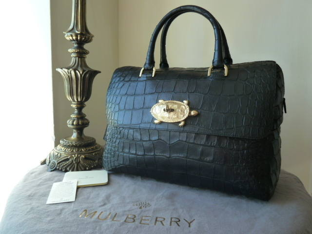 Mulberry Del Rey Large Turtle Lock Navy Sparkle Croc Print