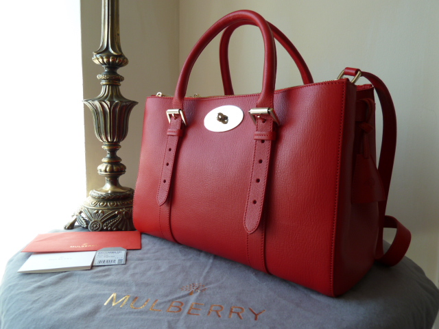 Mulberry Double Zip Bayswater Tote in Red Shiny Goat Leather - New