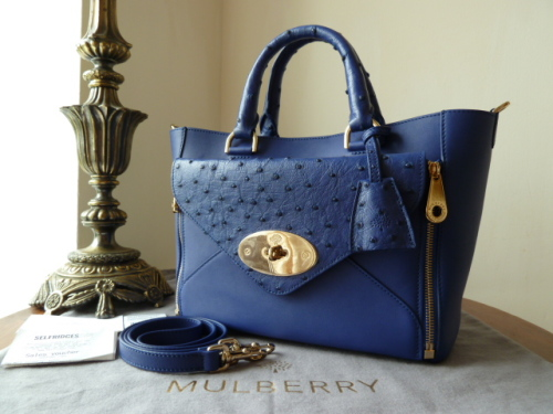 Mulberry Small Willow Tote in Cosmic Blue Classic Calf & Ostrich Mix - New
