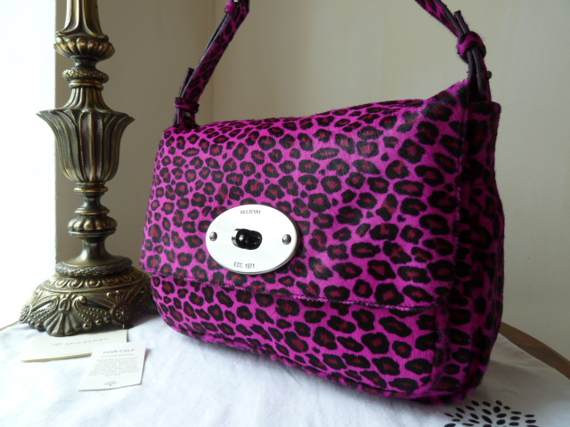 Mulberry Bayswater Shoulder Clutch in Neon Pink Cheetah Haircalf (Sub) - Ne