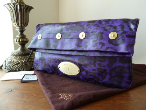 Mulberry Mitzy Clutch in Grape Leopard Printed Shiny Leather (ref 2) - As N