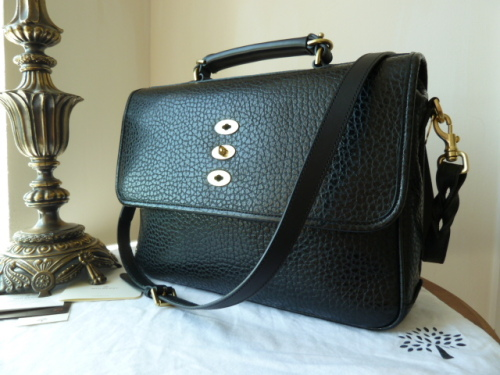 Mulberry Bryn (Large) in Black Shiny Grain Leather - New