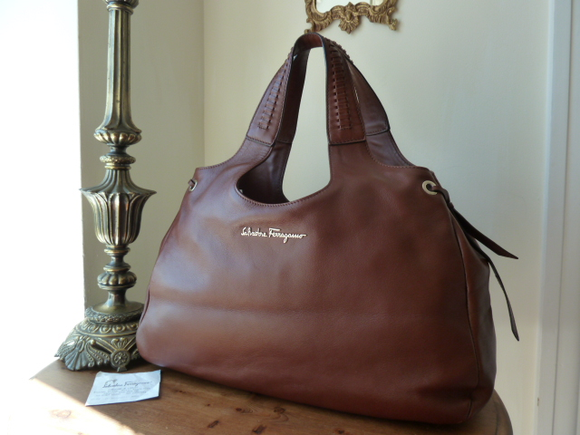 Salvatore Ferragamo Large Chestnut Hobo in Smooth Calf Leather