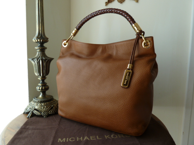 Michael Kors Large Skorpios Tote in Luggage (Oak)Pebbled Leather - New