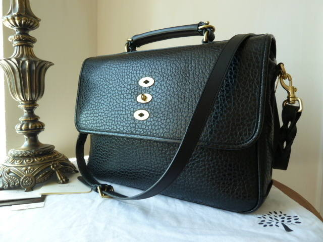 Mulberry Bryn OS Black Shiny Grain NEW