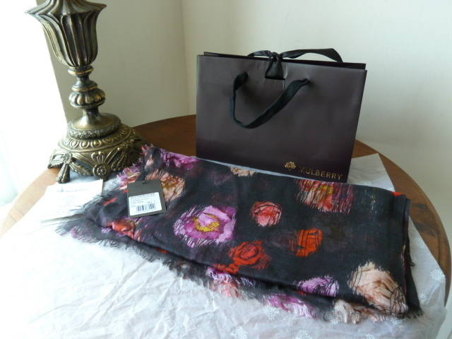Mulberry Scribbly Floral Scarf Wrap