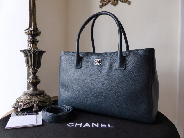 Chanel Cerf Tote in Petrol Blue Calfskin