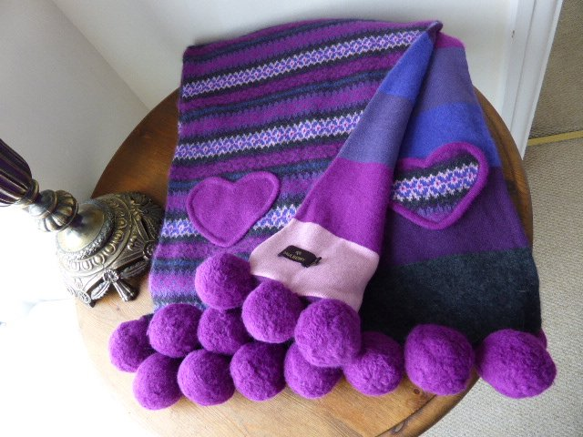 Mulberry Pom Pom Fair Isle Knit Scarf in Plum