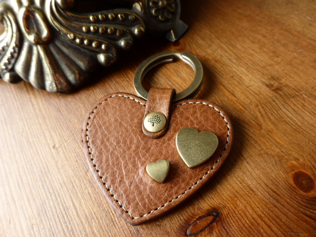 Mulberry Heart Keyring Bagcharm in Chocolate NVT Leather - SOLD