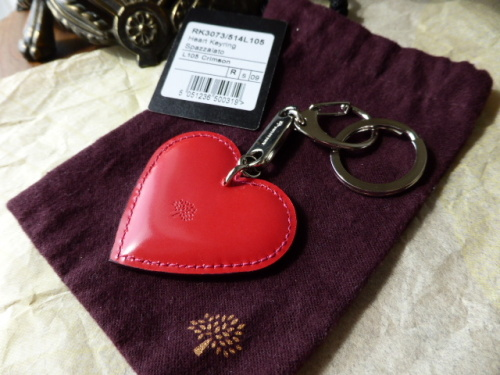 Mulberry Heart Studded Keyring in Oak