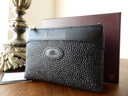 Mulberry Zip Coin Purse in Black Scotgrain & Leather - New