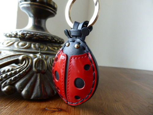 Mulberry Heart Keyring / Bag Charm in Crimson Spazzalato Leather with Silve