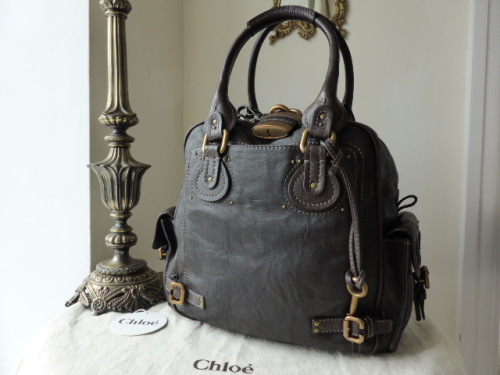 Chloe Paddington Tote in Metallic Argent / Aubergine - SOLD