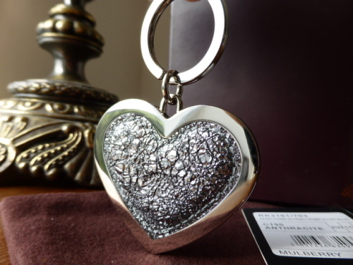 Mulberry Heart Keyring Bagcharm in Red Printed Leather - SOLD