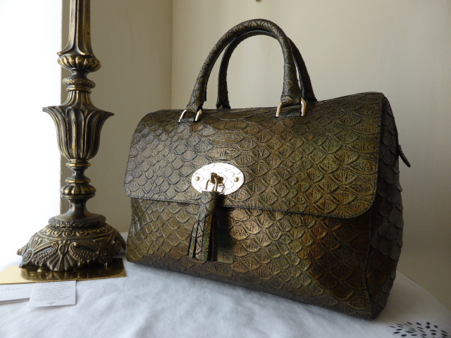 Mulberry Del Rey (large) with Turtle Lock in Navy Blue Sparkle Croc Print -