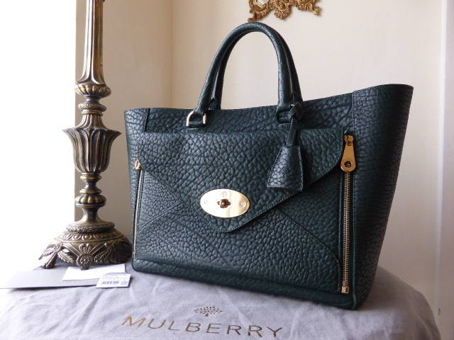 Mulberry Willow Tote Pheasant Green Shrunken Calf