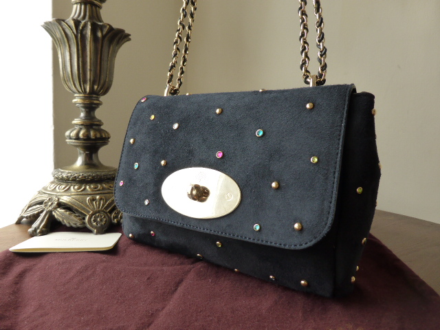 Mulberry Lily with Patchwork Gems Nightshade Blue Suede - New*