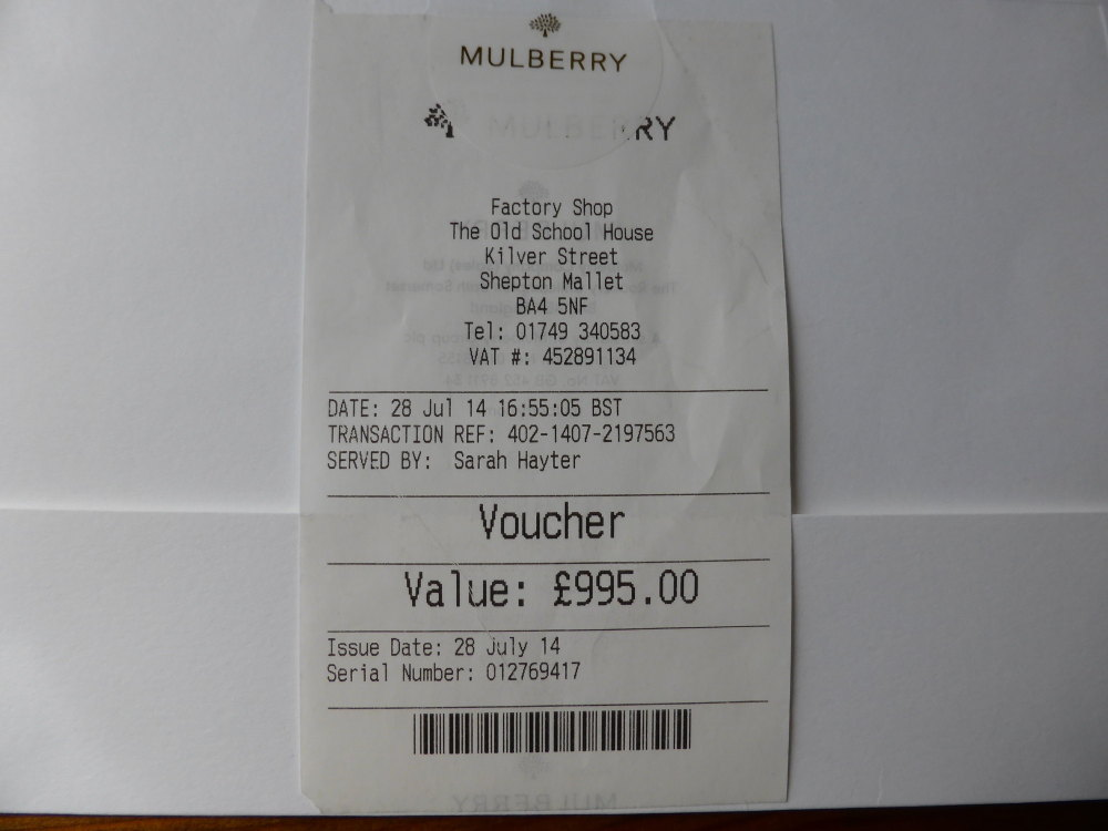 Mulberry Gift Voucher for £895 (Valid all UK Stores & Outlets for 12 months