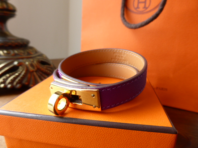 Hermes Kelly Double Tour Swift leather cuff bracelet in Anemone