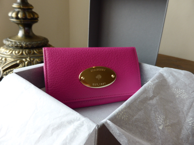 Mulberry Zip Around Travel Wallet Leather in Mulberry Pink Glossy Goat - Ne